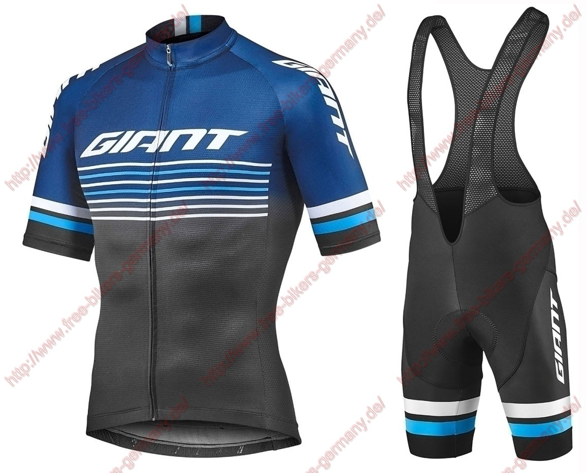 Profiteams 2019 Giant Race Day black Radbekleidung Satz Trikot Kurzarm + Trägerhosen Set Outlet