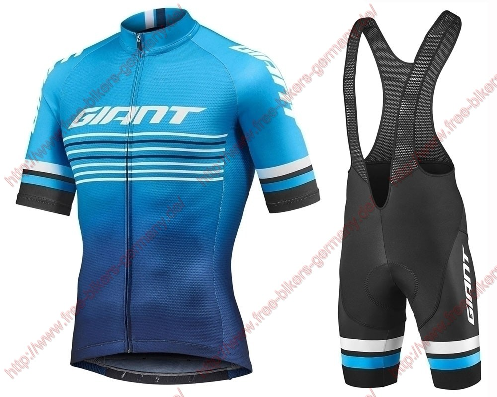 Profiteams 2019 Giant Race Day Blue Radbekleidung Satz Trikot Kurzarm + Trägerhosen Set Outlet