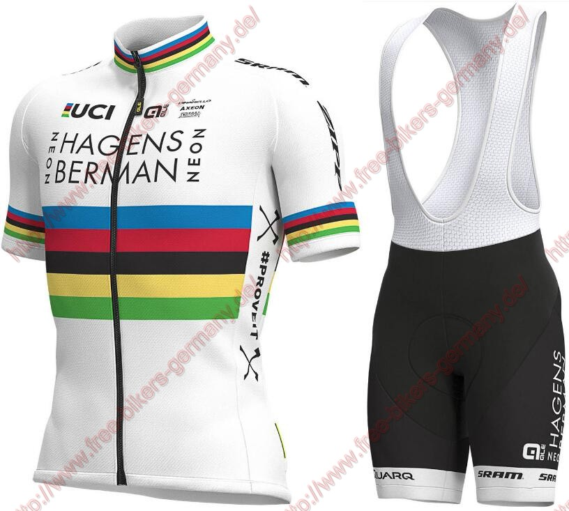 Profiteams 2019 World Champion Hagens Berman Axeon Radbekleidung Satz Trikot Kurzarm + Trägerhosen Set Outlet
